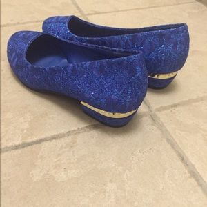 Shoes - Blue Floral Slip on Flats